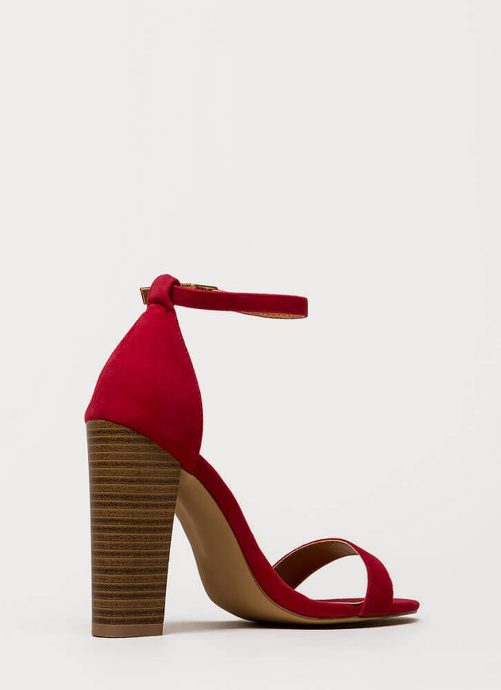 Lure Me In Chunky Ankle Strap Heels RED