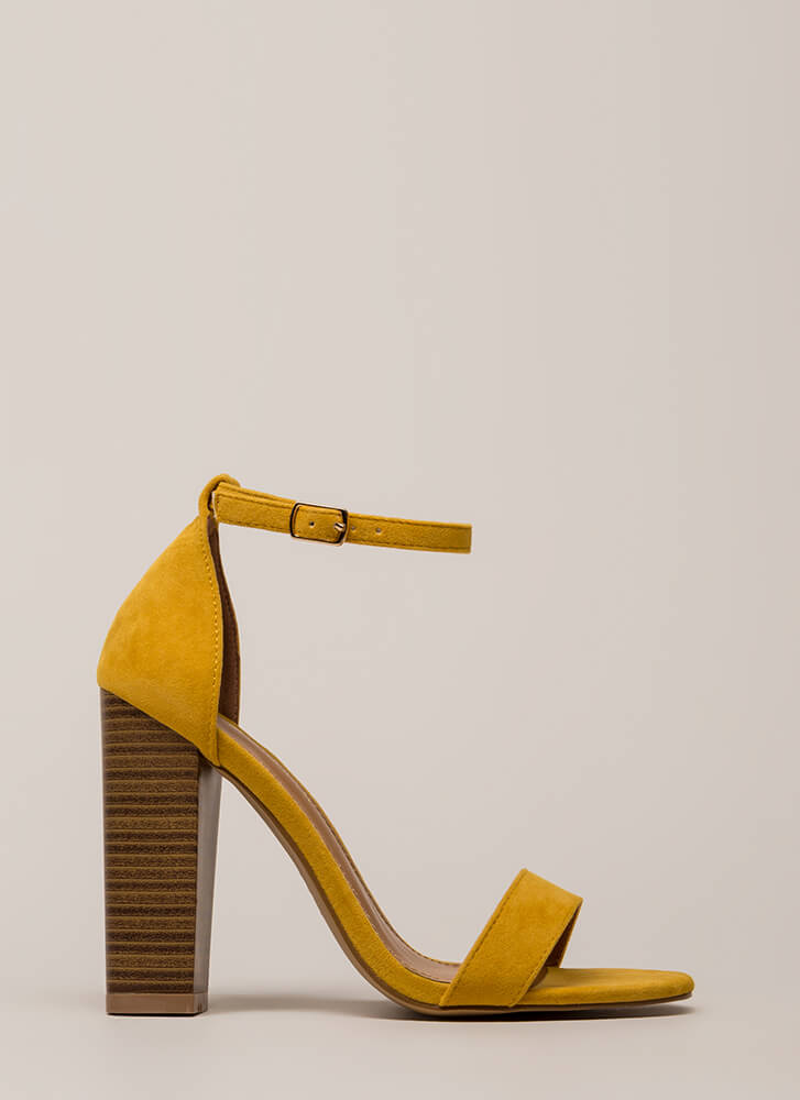 Lure Me In Chunky Ankle Strap Heels YELLOW