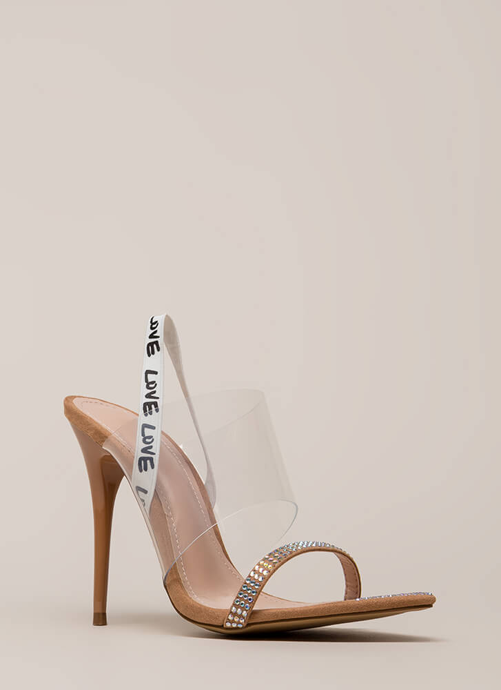 Love And Awe Clear Jeweled Heels TAUPE