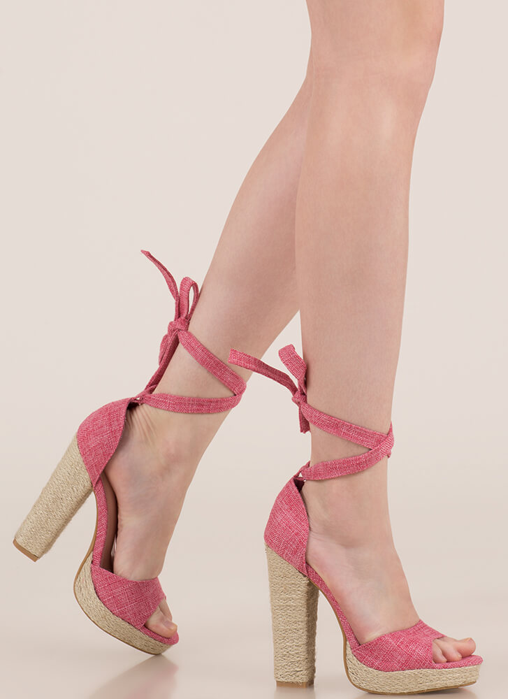 Bella Chunky Lace-Up Braided Trim Heels PINK