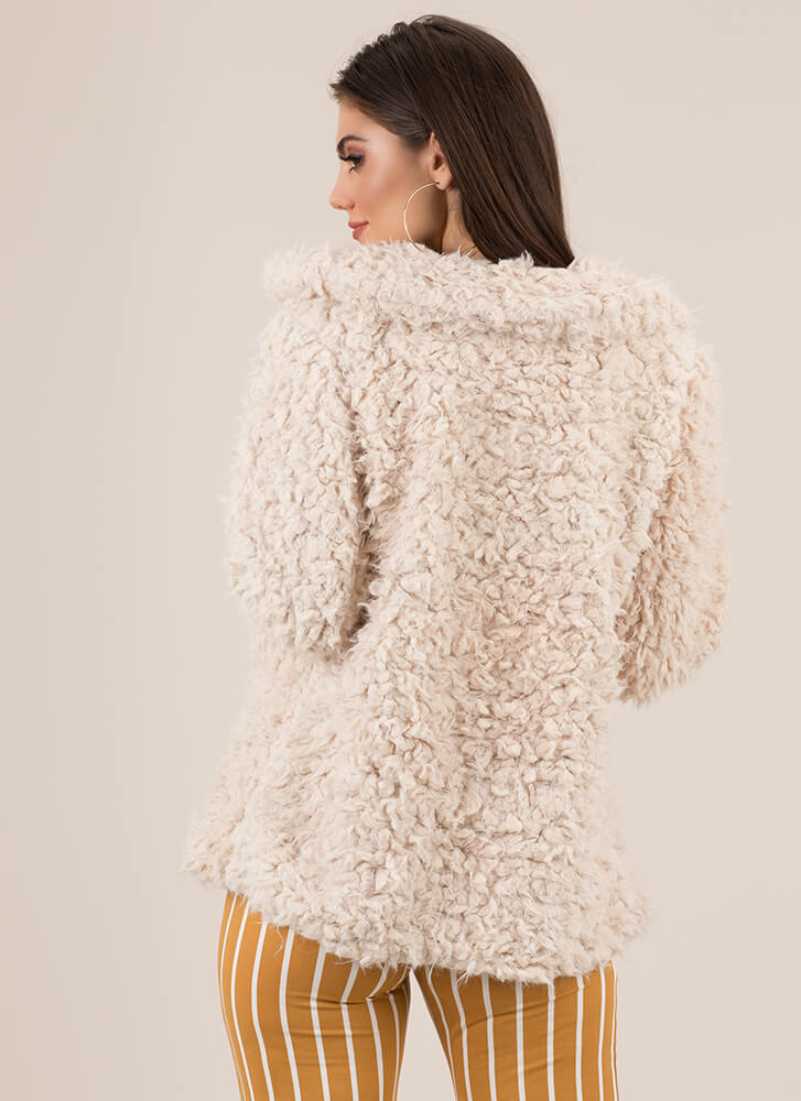 You Better Furry Up Faux Shearling Coat TAUPE (You Saved $18)