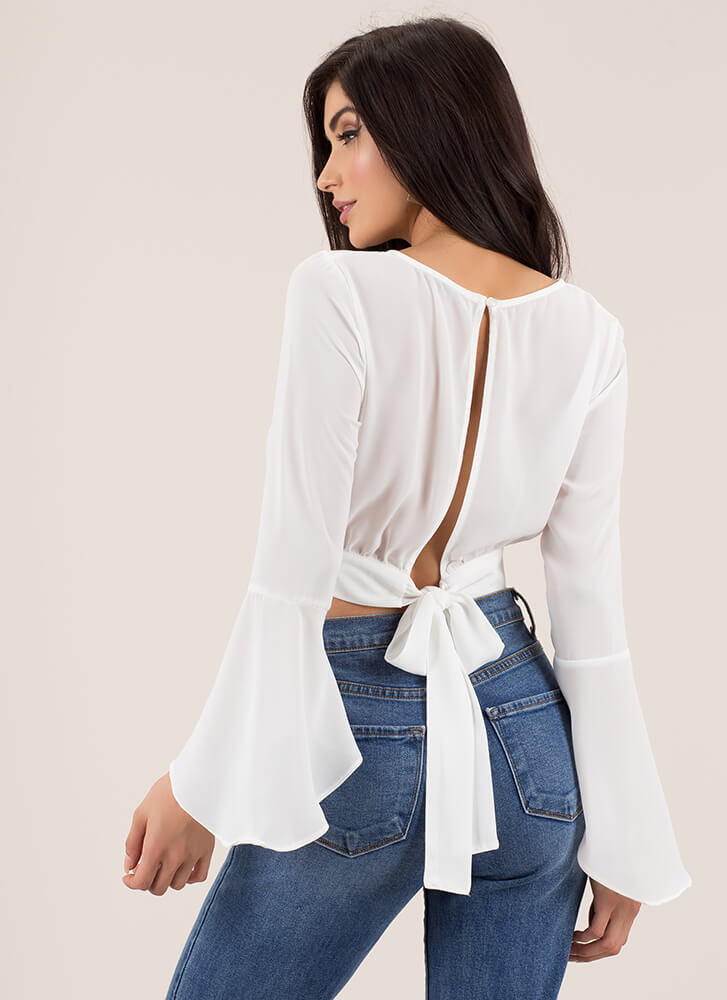 Ring My Bell Sleeve Tie-Back Crop Top WHITE