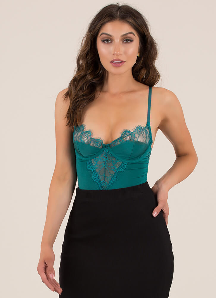 Lace Have A Good Night Bustier Bodysuit JADE (You Saved $18)