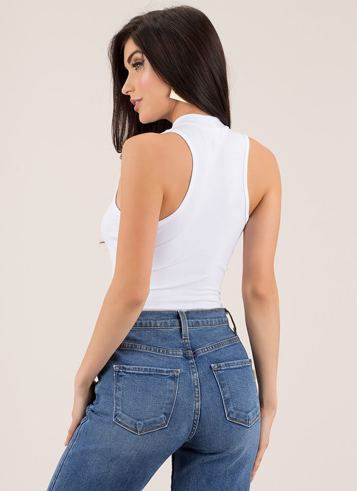 It's A Must Sleeveless Ribbed Bodysuit WHITE