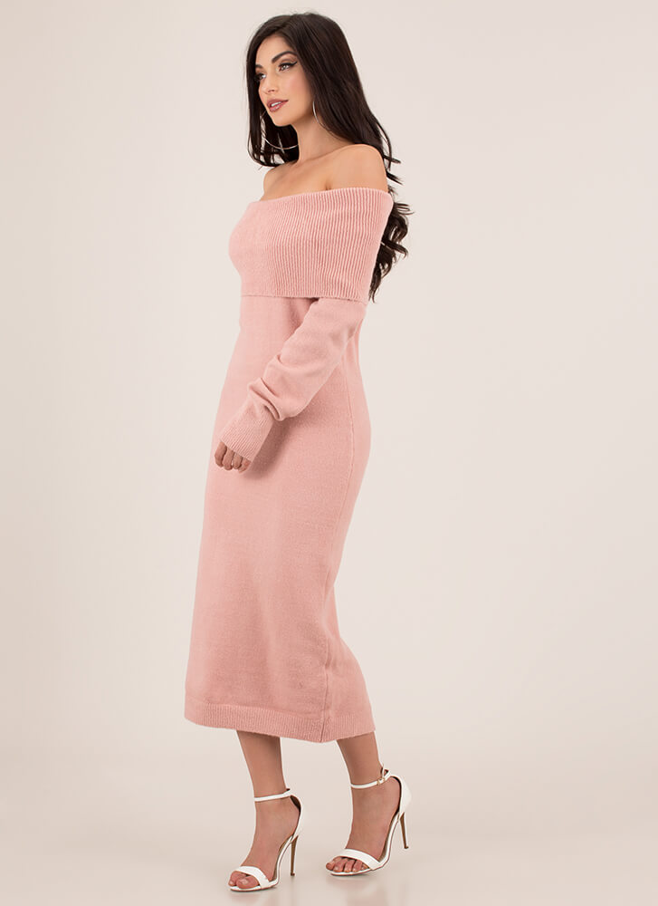 Uncovered Off-Shoulder Sweater Dress MAUVE