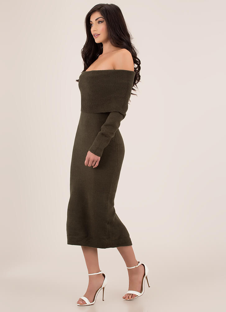Uncovered Off-Shoulder Sweater Dress OLIVE