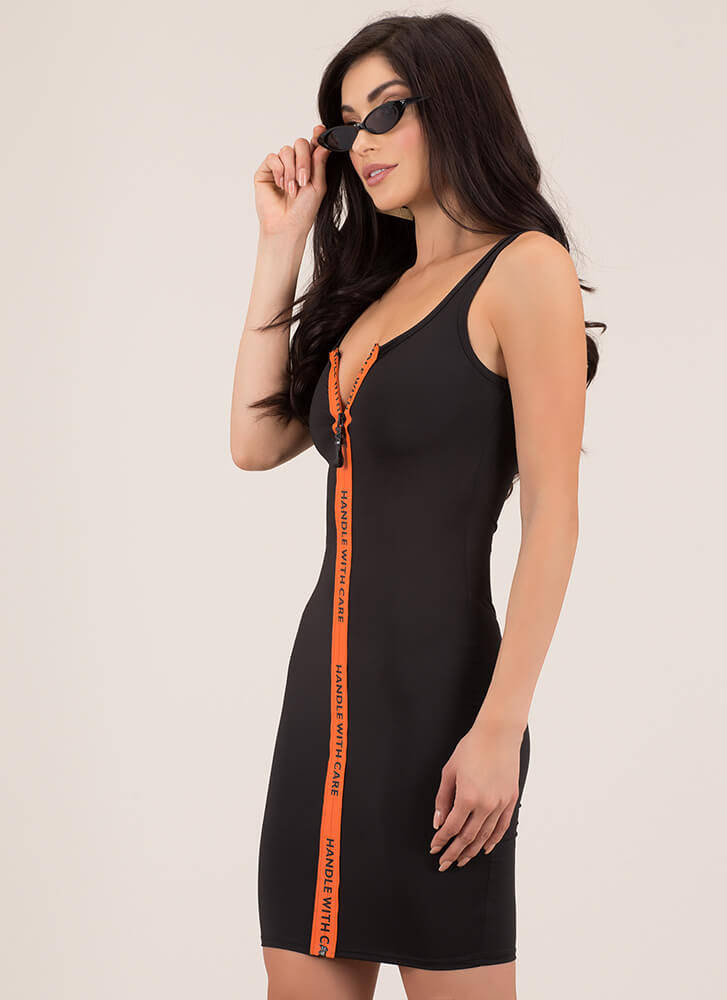 Handle With Care Graphic Zipper Dress BLACK