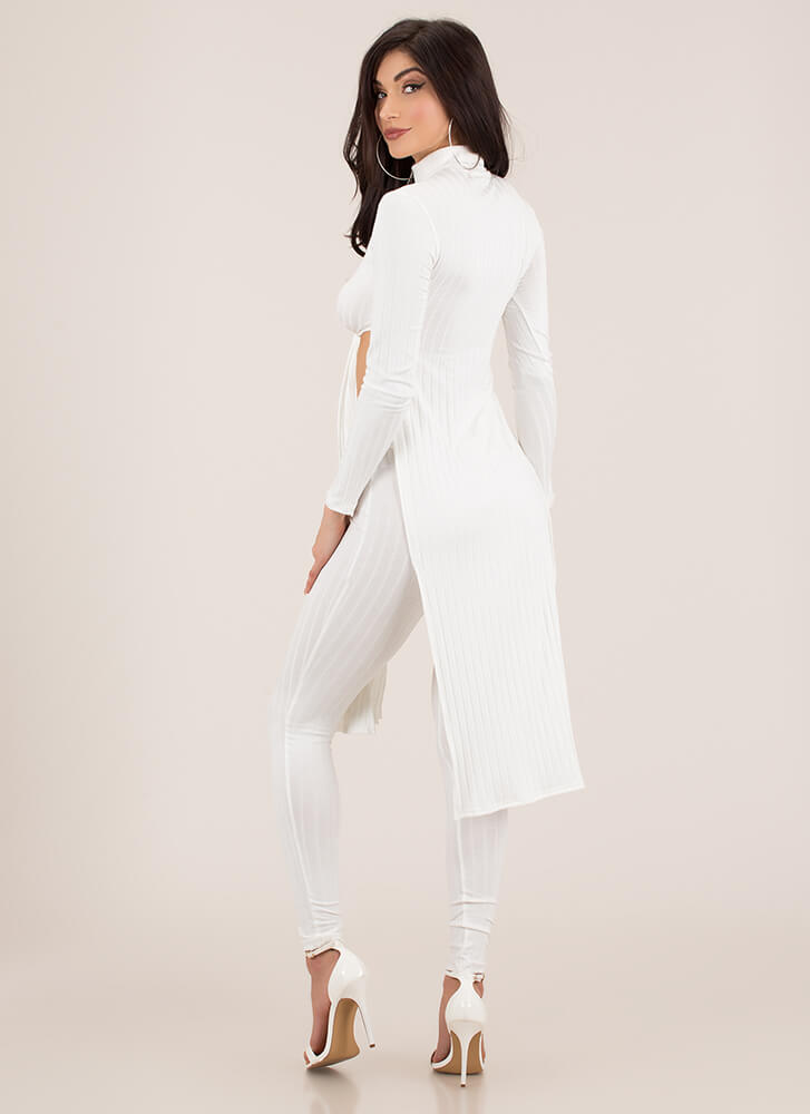 Tie Game Ribbed Top And Legging Set WHITE
