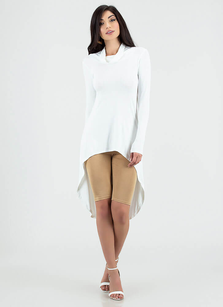 Draped Crusader High-Low Open-Back Top IVORY