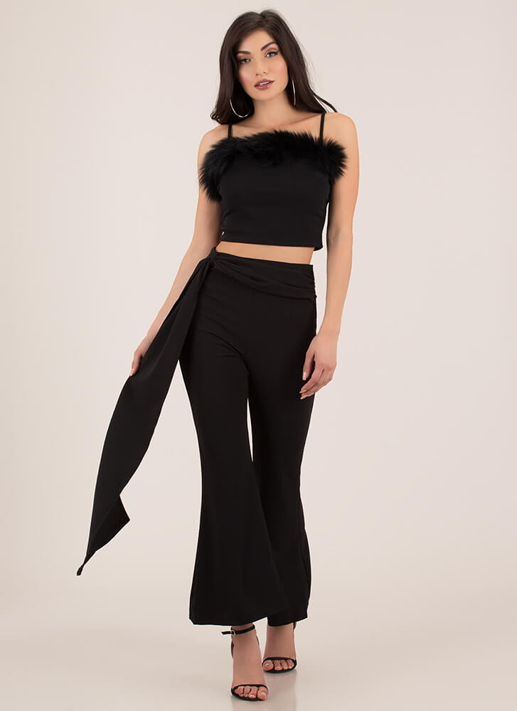 Once And Fur All Trimmed Crop Top BLACK