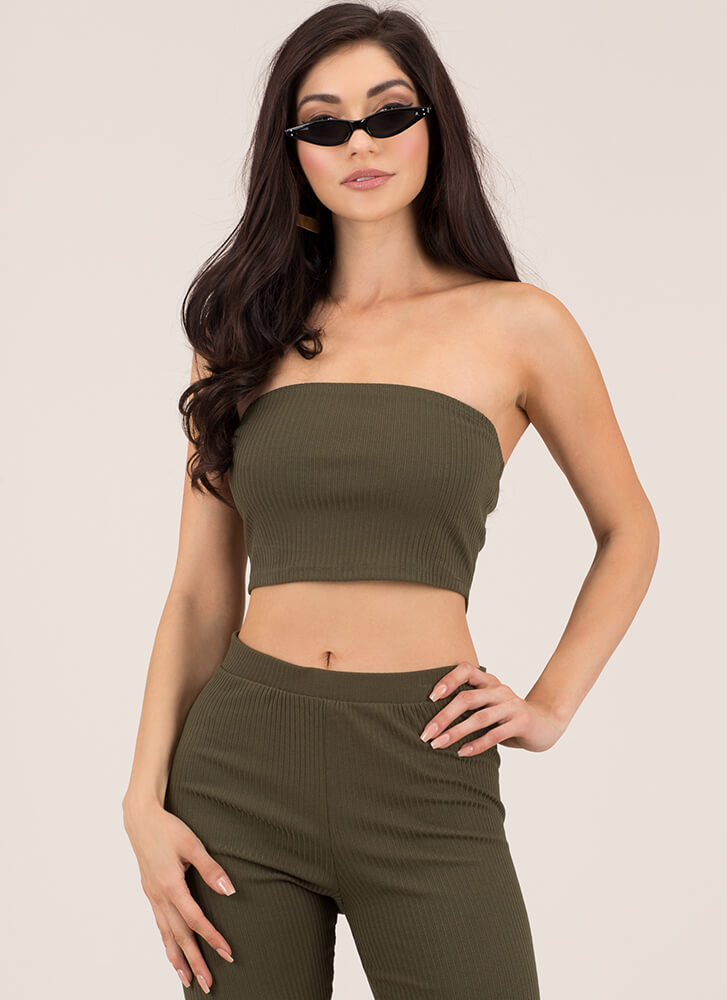 It's Simple Rib Knit Cropped Tube Top OLIVE