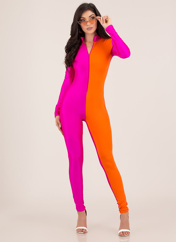 Halve A Great Day Colorblock Jumpsuit PINKORANGE (You Saved $23)