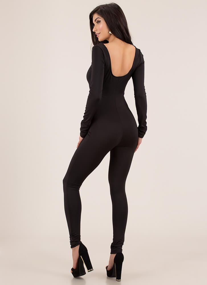 Yes Girl Cut-Out Square-Neck Jumpsuit BLACK