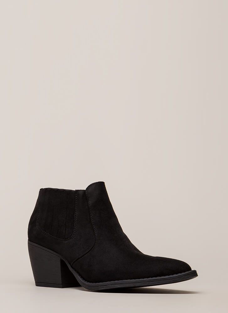 Only In Legends Block Heel Booties BLACK