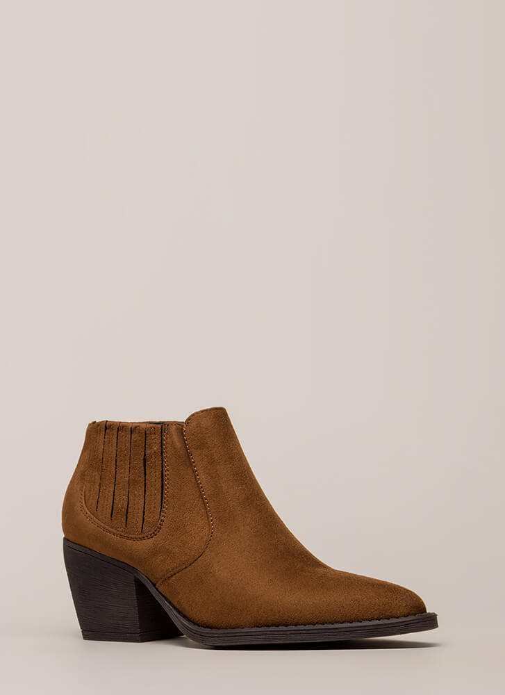 Only In Legends Block Heel Booties COFFEE