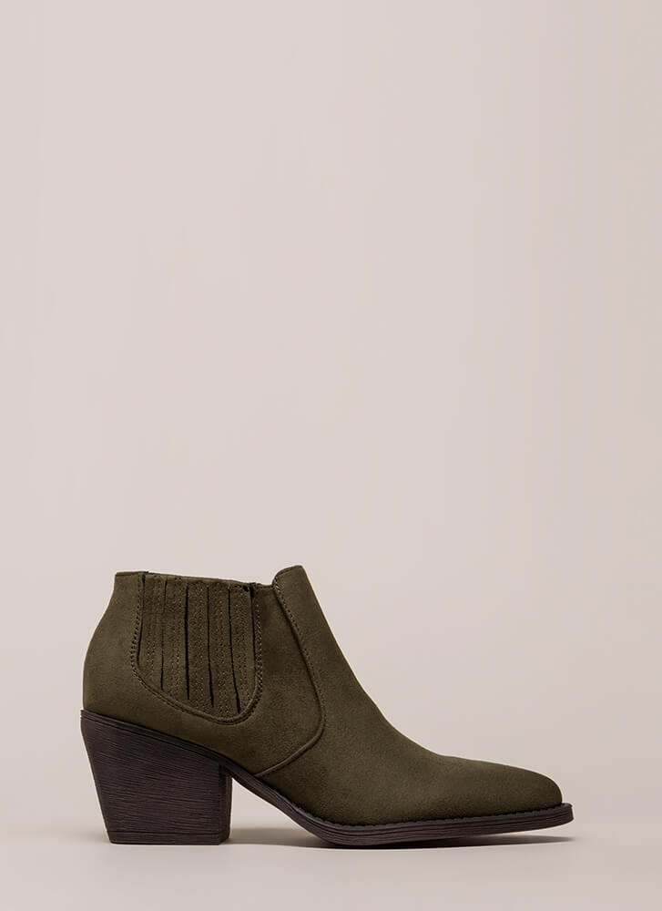 Only In Legends Block Heel Booties OLIVE