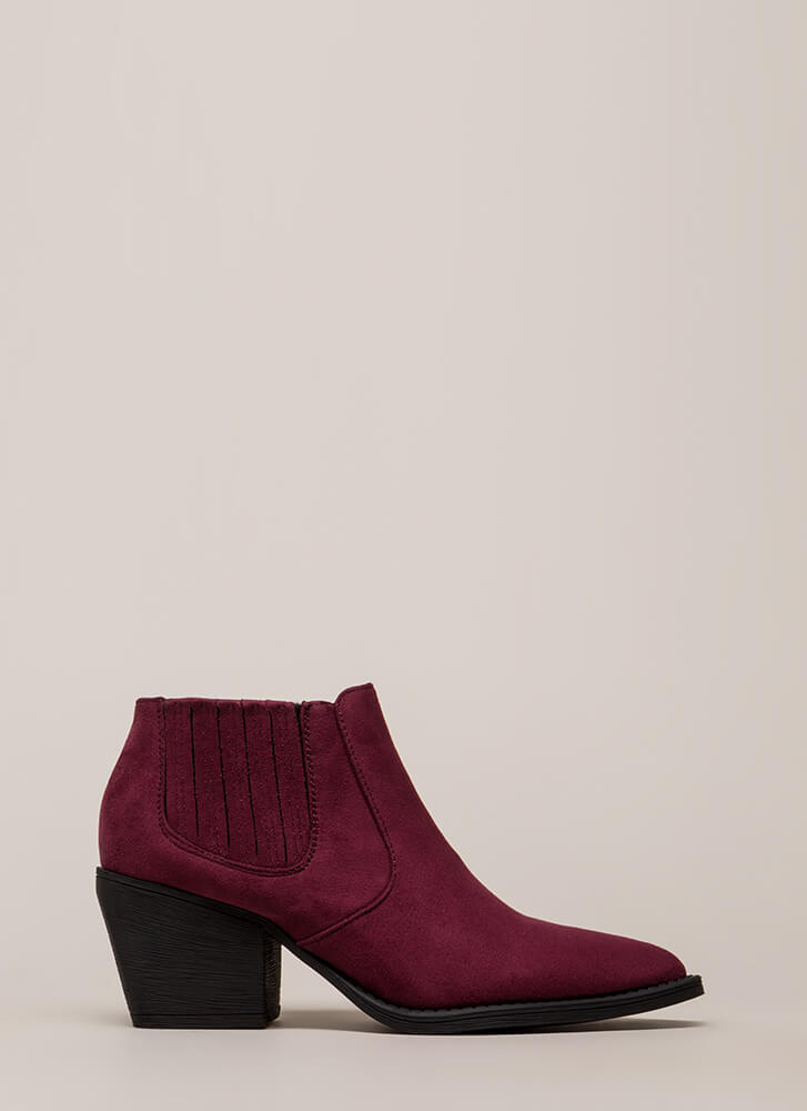 Only In Legends Block Heel Booties WINE