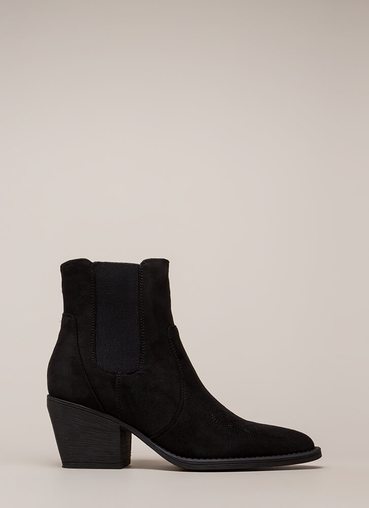 Back In Chelsea Block Heel Booties BLACK
