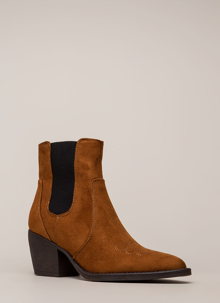 Back In Chelsea Block Heel Booties CHESTNUT