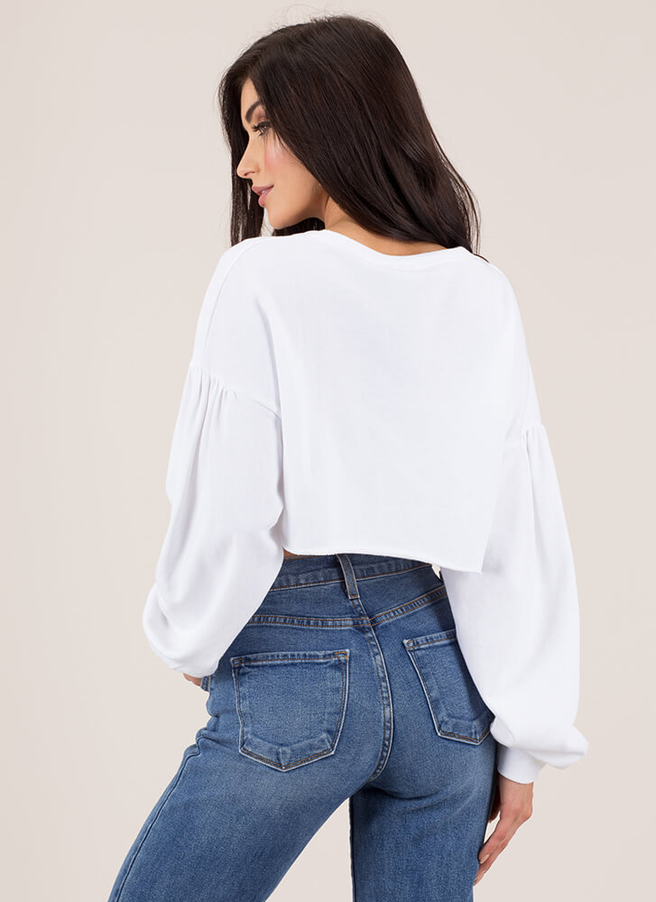 I'm A Little Short Cropped Sweatshirt WHITE