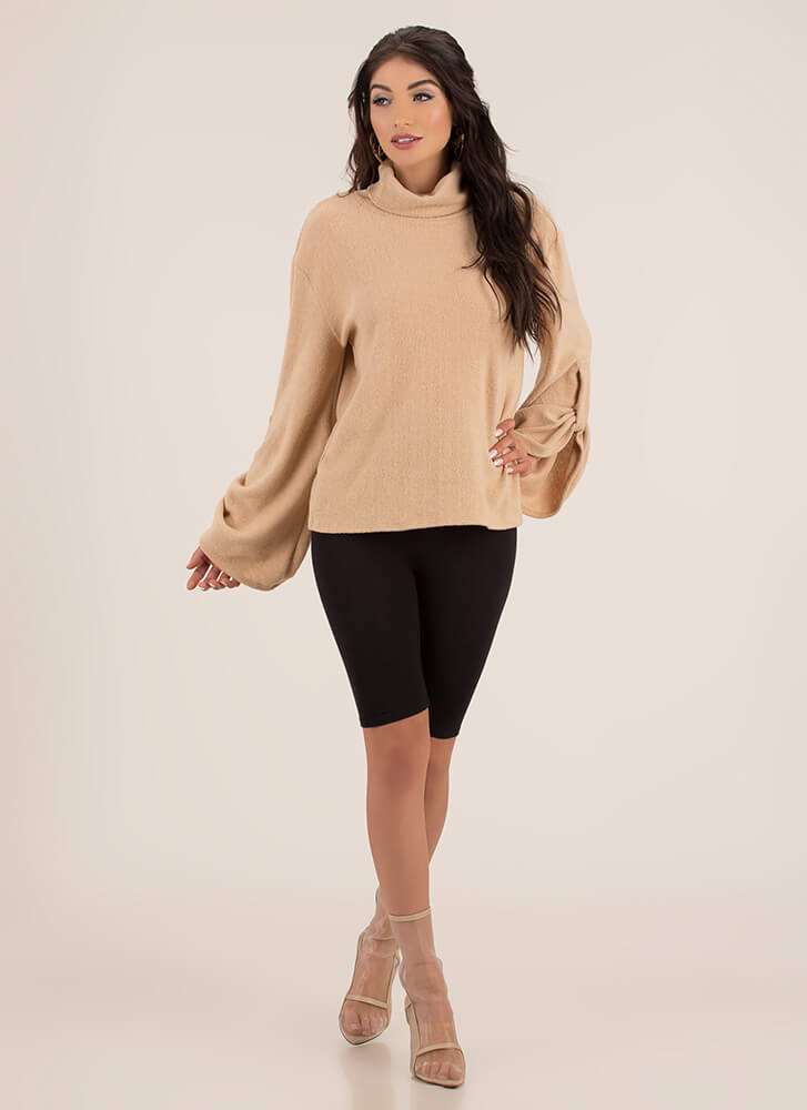 Scrunch Time Knit Bell-Sleeve Sweater CAMEL (You Saved $14)