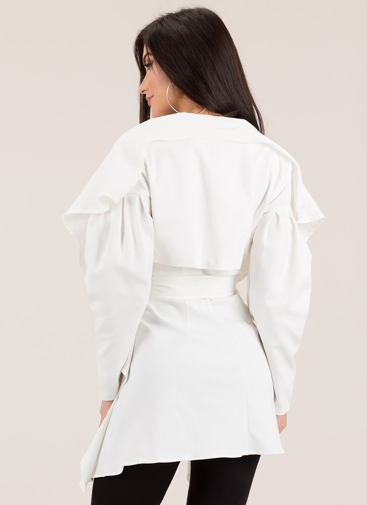 High Fashion Belted Jacket Top WHITE