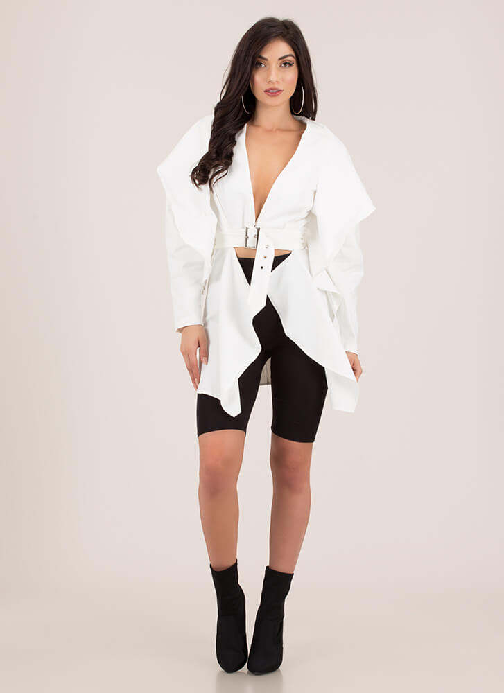 High Fashion Belted Jacket Top WHITE (Final Sale)