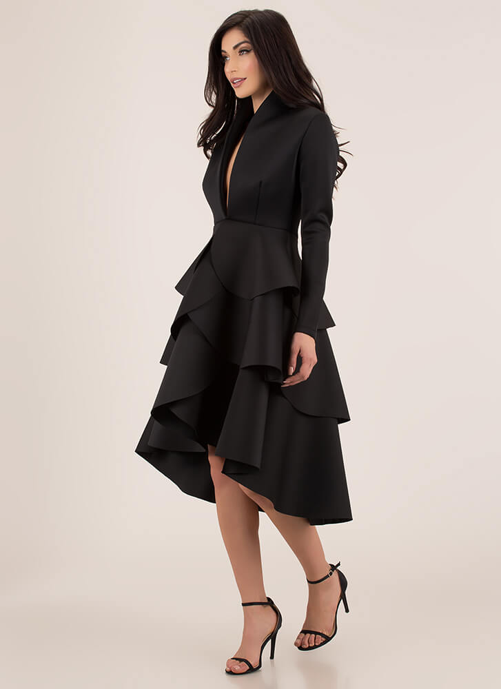 Hold Back Tiers Flared Layered Dress BLACK