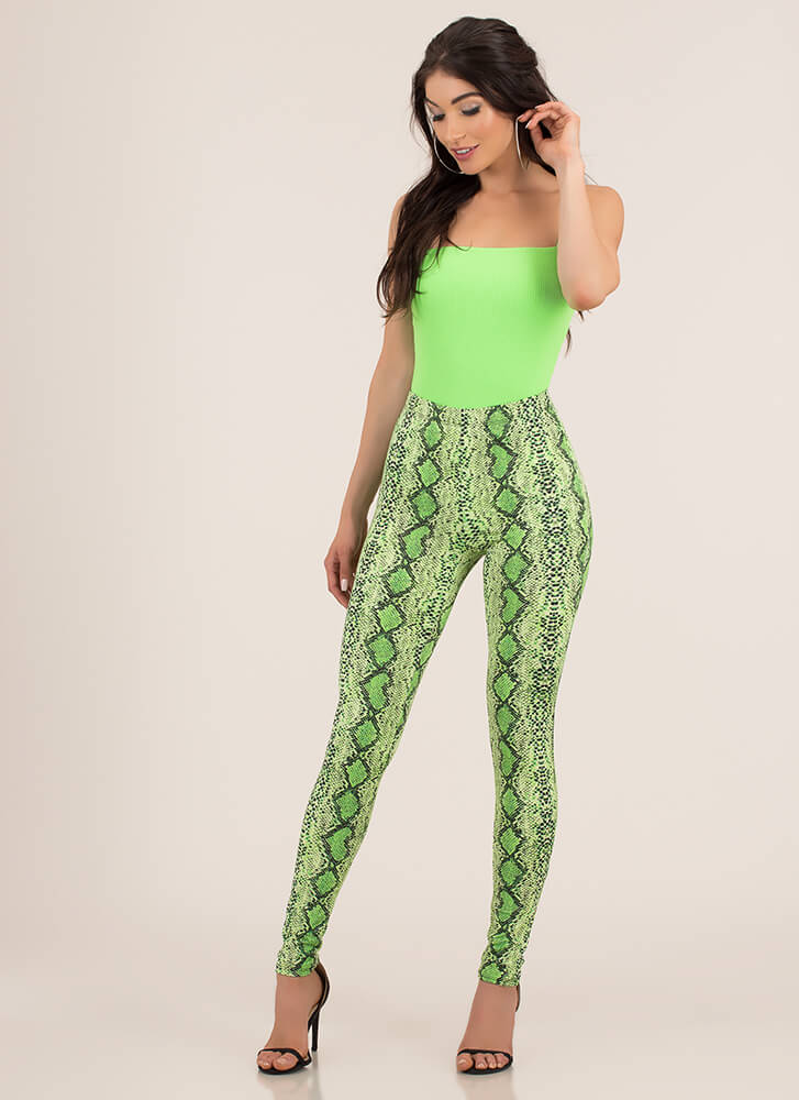 Bright Spot Square Neck Bodysuit NEONGREEN (You Saved $14)