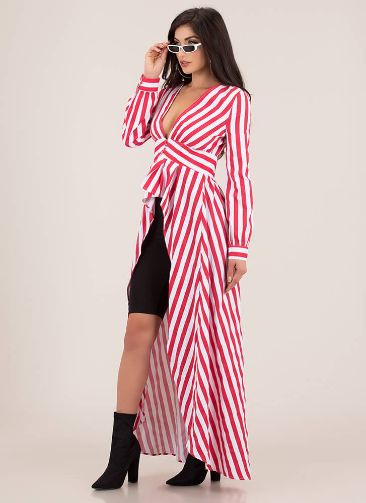 More Stripes Please High-Low Maxi Top REDMULTI