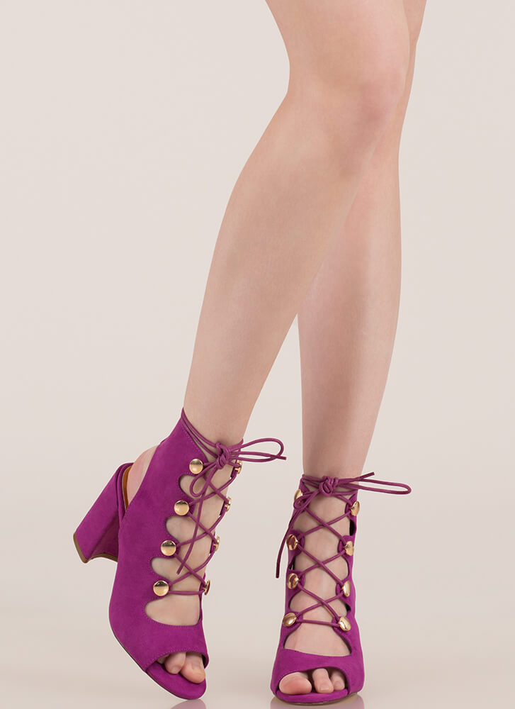 Cute As A Button Chunky Lace-Up Heels MAGENTA