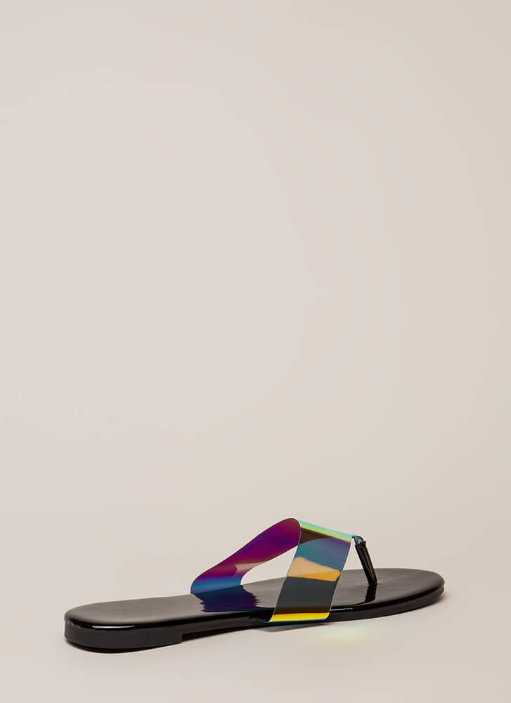 Not A Hologram Jelly Thong Sandals BLACK