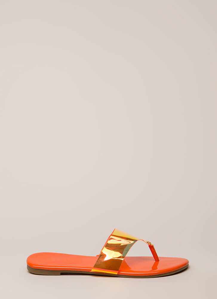 Not A Hologram Jelly Thong Sandals ORANGE