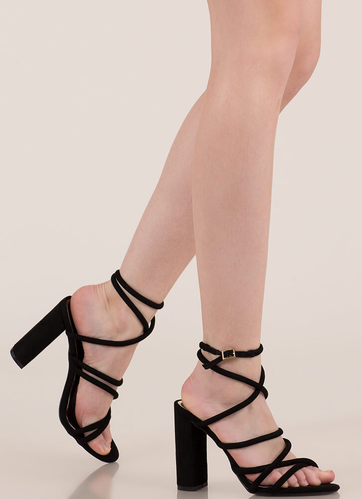 Strappy-Go-Lucky Chunky Caged Heels BLACK (You Saved $21)