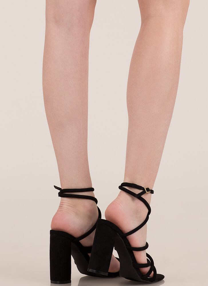 Strappy-Go-Lucky Chunky Caged Heels BLACK