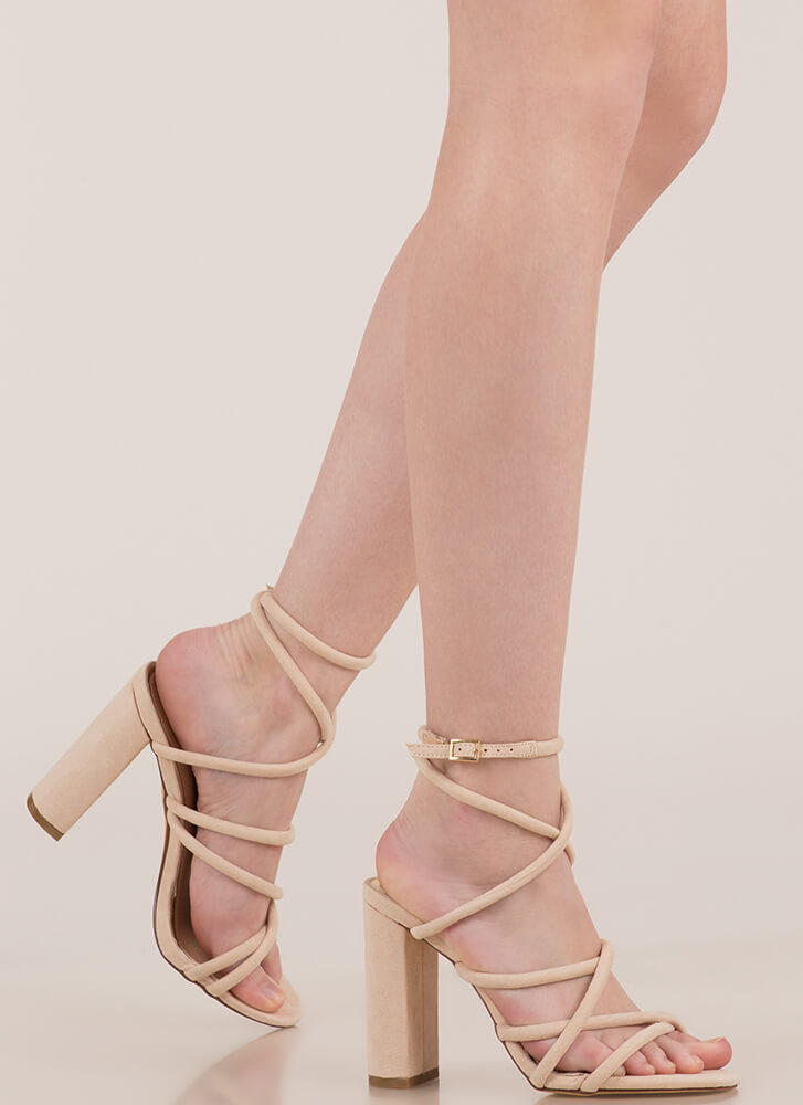 Strappy-Go-Lucky Chunky Caged Heels NUDE (You Saved $21)