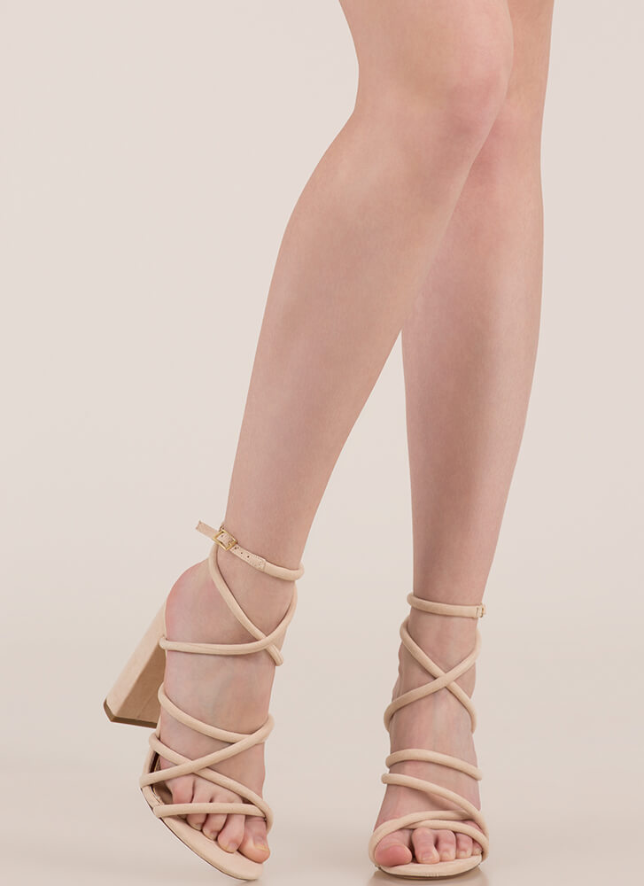 Strappy-Go-Lucky Chunky Caged Heels NUDE