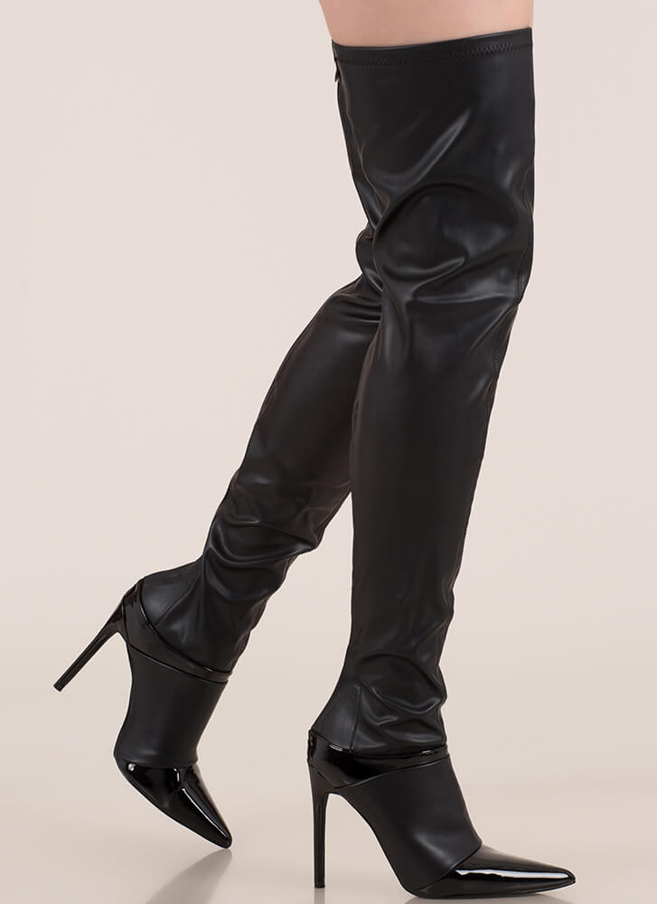 Total Domination Pointy Thigh-High Boots BLACK