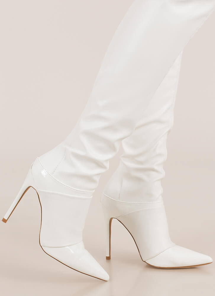 Total Domination Pointy Thigh-High Boots WHITE