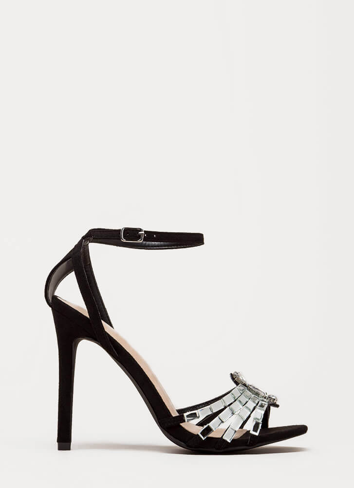 Pure Class Jeweled Ankle Strap Heels BLACK
