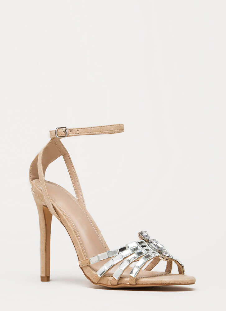 Pure Class Jeweled Ankle Strap Heels NUDE