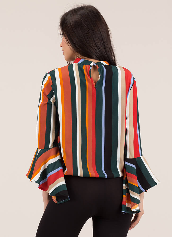 Sudden Interest Striped Bell Sleeve Top GREENMULTI