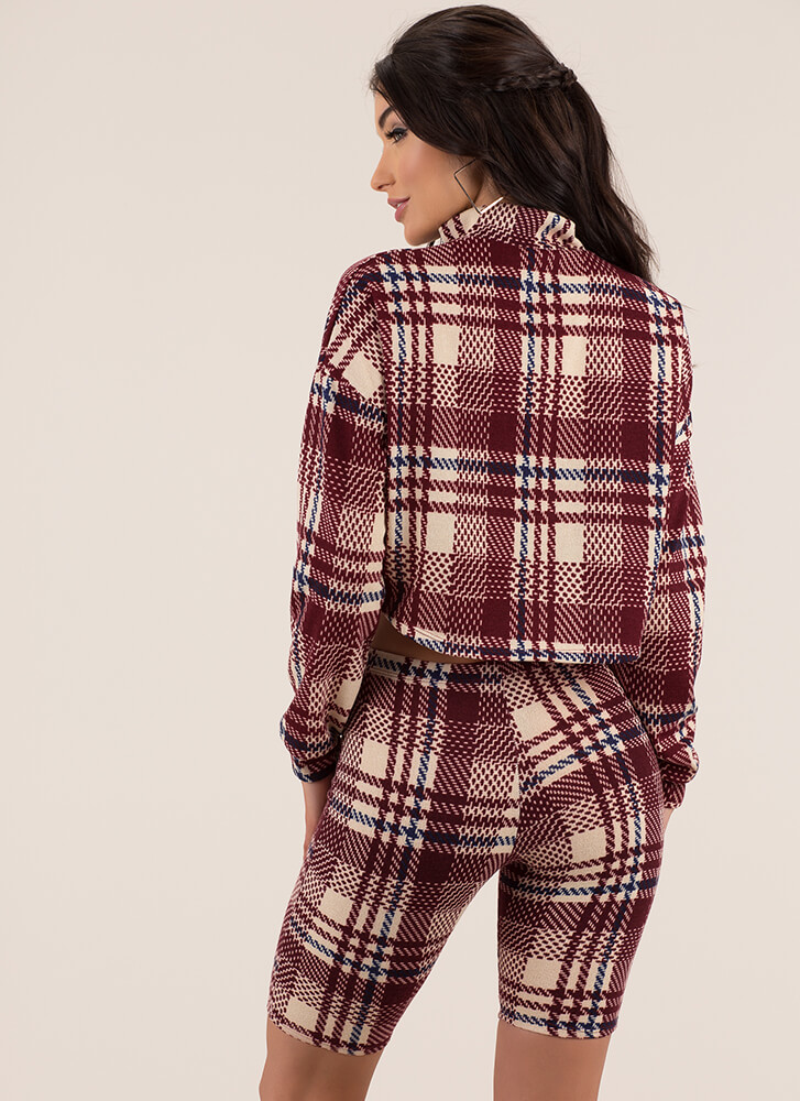 Good To Be Plaid Top And Shorts Set BURGUNDY (You Saved $21)