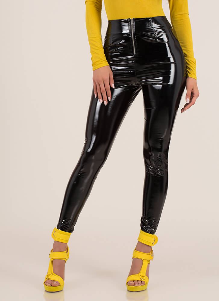 Oh My Gloss Faux Patent Skinny Pants BLACK