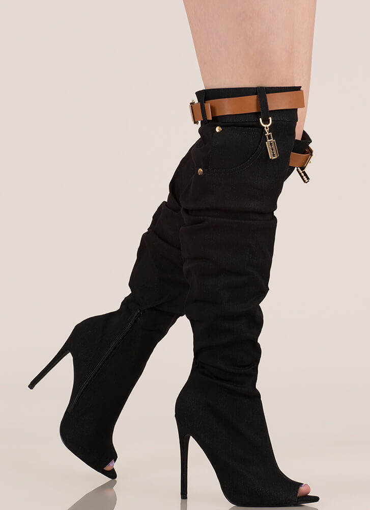 Jean Queen Belted Over-The-Knee Boots BLACK