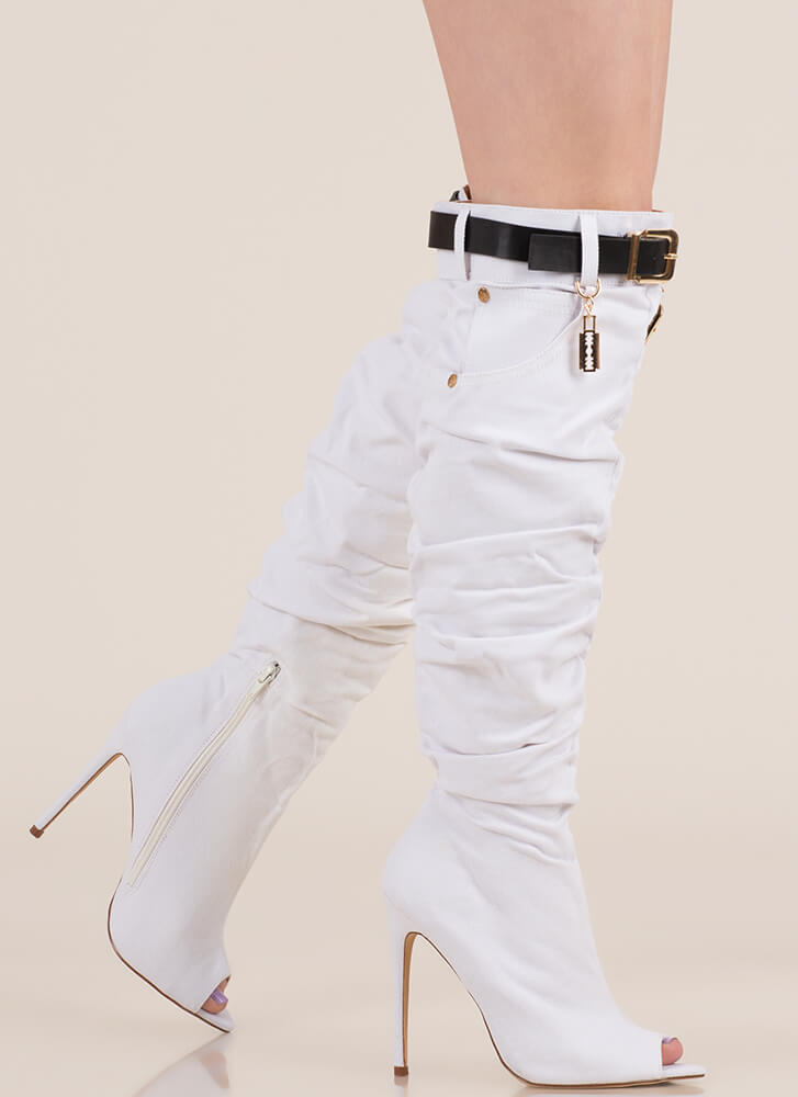 903792796a7 Jean Queen Belted Over-The-Knee Boots WHITE (Final Sale) ...