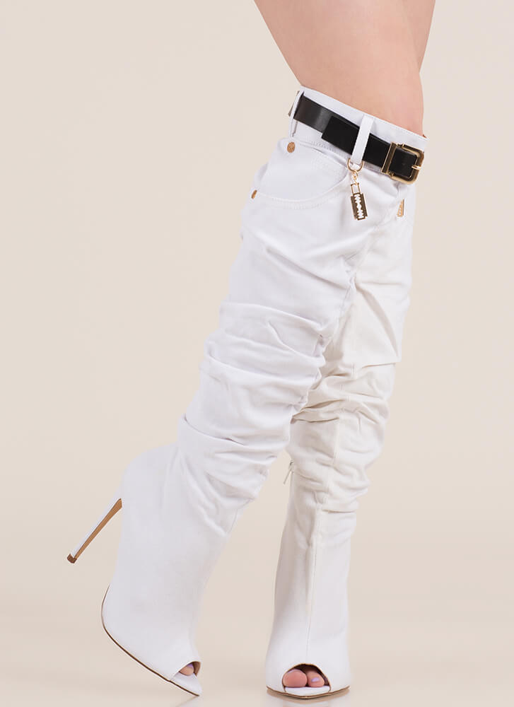 Jean Queen Belted Over-The-Knee Boots WHITE
