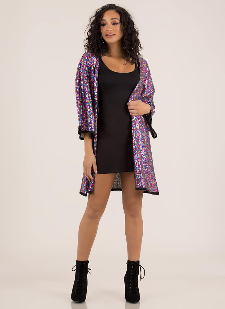 Sparkle Party Sequined Trimmed Kimono MULTI (You Saved $29)