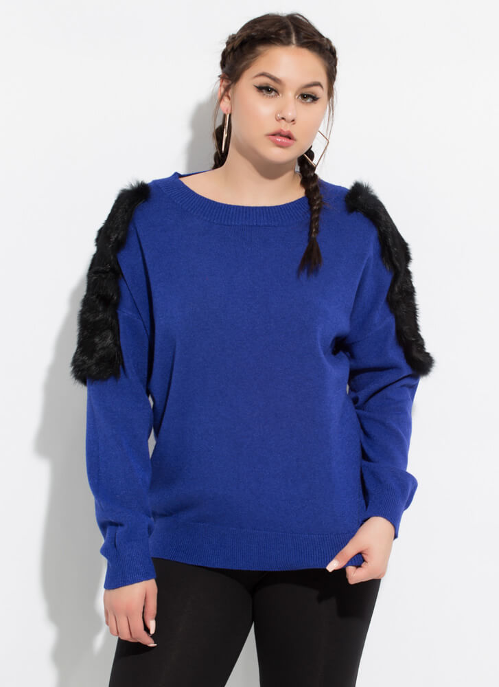 Made Special Fur You Knit Sweater ROYAL