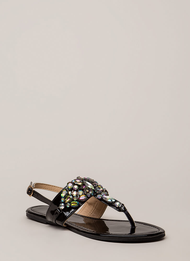 Precious Gems Jeweled T-Strap Sandals BLACK